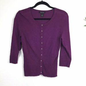 White House Black Mark Button Front Top S Purple